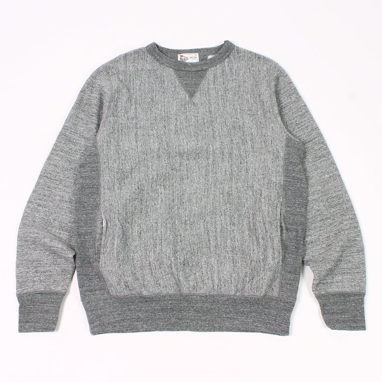 DOUBLE V GUSSET 16oz NEW HEAVY WEIGHT TERRY INVERSE WEAVE SWEAT CREW NECK - CHARCOAL HEATHER