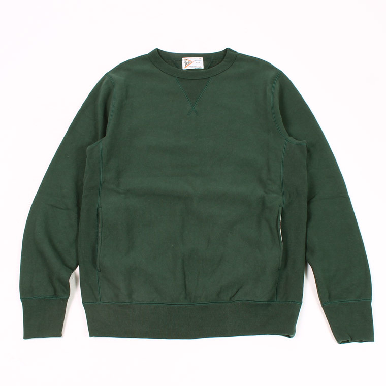 DOUBLE V GUSSET 16oz NEW HEAVY WEIGHT TERRY INVERSE WEAVE SWEAT CREW NECK - DK GREEN