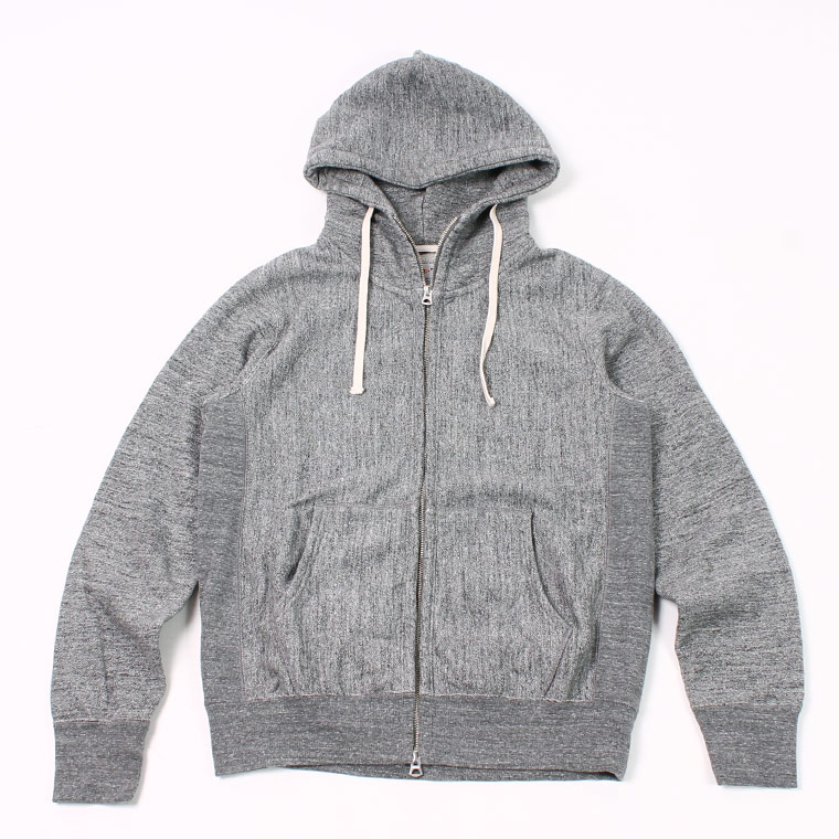16oz NEW HEAVY WEIGHT TERRY INVERSE WEAVE SWEAT HIGH NECK FULL ZIP PARKA - CHARCOAL HEATHER