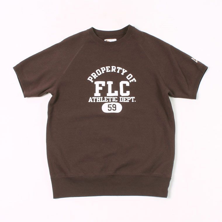 S/S RAGLAN SWEAT LT WEIGHT FRENCH TERRY PROPERTY OF FLC PRINT - FADED COFFEE
