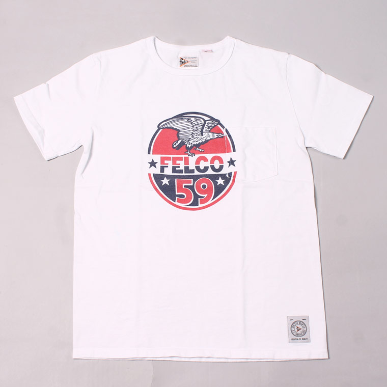 S/S CREW NECK POCKET T MADE IN USA BODY W/WATER PRINT - EAGLE - WHITE
