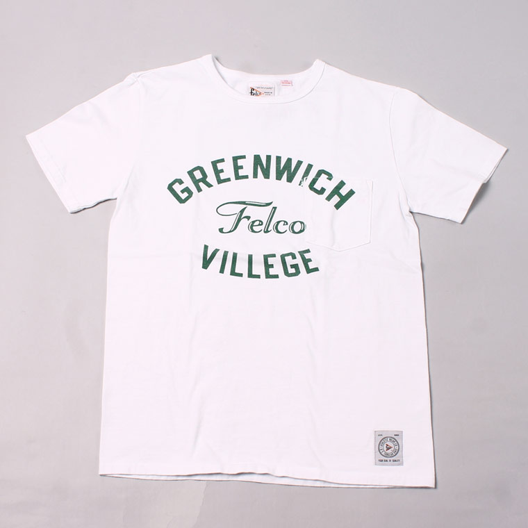 S/S CREW NECK POCKET T MADE IN USA BODY W/WATER PRINT - GREENWICH - WHITE