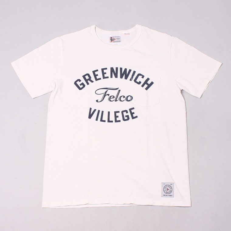 S/S CREW NECK POCKET T MADE IN USA BODY W/WATER PRINT - GREENWICH - NATURAL WHITE