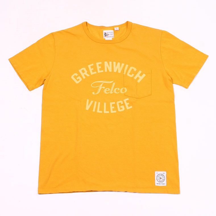 S/S CREW NECK POCKET T MADE IN USA BODY W/WATER PRINT - GREENWICH - MUSTARD
