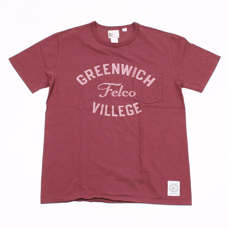 S/S CREW NECK POCKET T MADE IN USA BODY W/WATER PRINT - GREENWICH - BURGUNDY