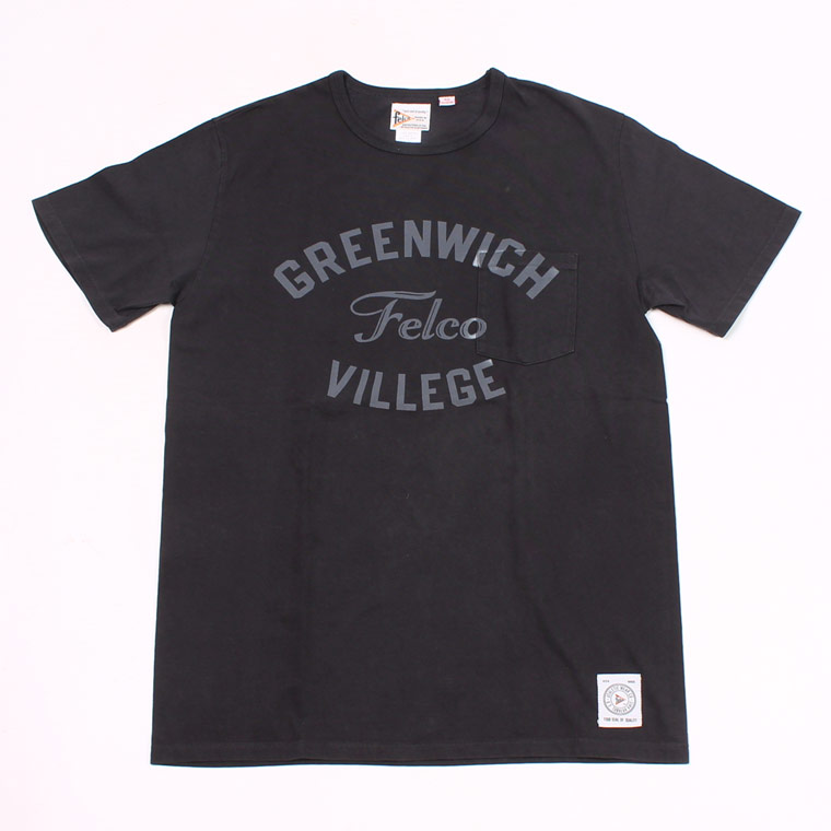 S/S CREW NECK POCKET T MADE IN USA BODY W/WATER PRINT - GREENWICH - BLACK