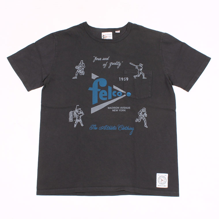S/S CREW PRINT T MADE IN USA BODY - FELCO SPORTS WATER PRINT - BLACK