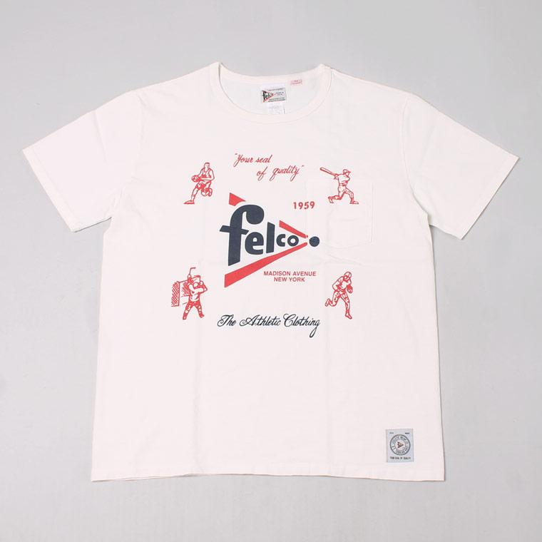 S/S CREW PRINT T MADE IN USA BODY - FELCO SPORTS WATER PRINT - NATURAL WHITE