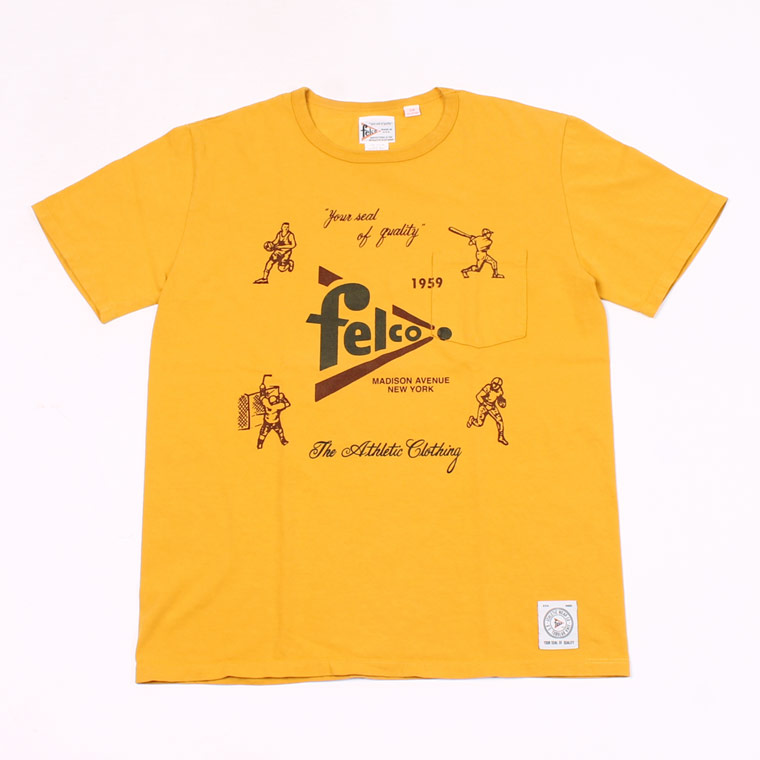 S/S CREW PRINT T MADE IN USA BODY - FELCO SPORTS WATER PRINT - MUSTARD