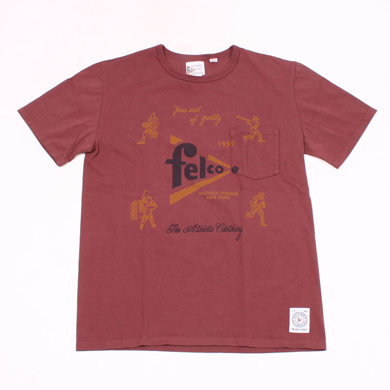 S/S CREW PRINT T MADE IN USA BODY - FELCO SPORTS WATER PRINT - BURGUNDY