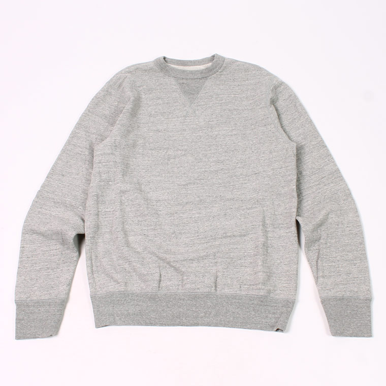 L/S SET IN SLEEVE V GUSSET CREW NECK SWEAT SHIRT -  12oz LIGHT Weight  French Terry - HEATHER GREY