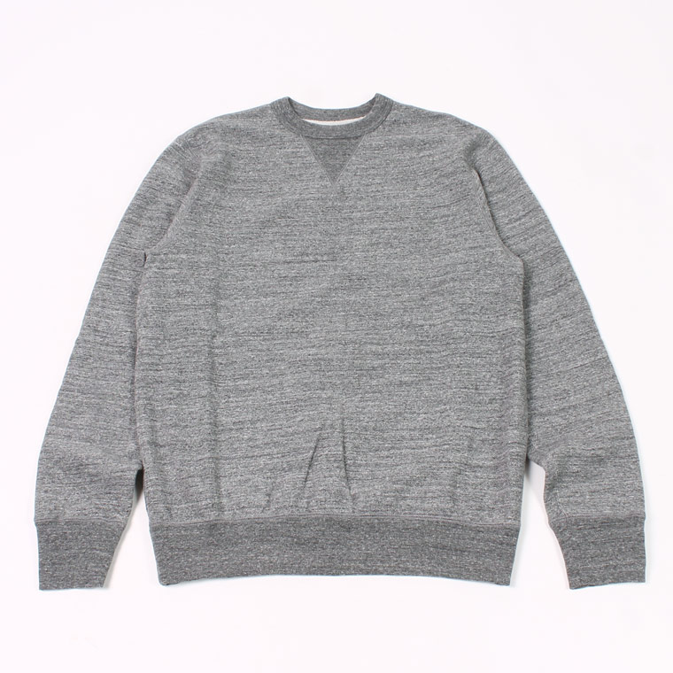 L/S SET IN SLEEVE V GUSSET CREW NECK SWEAT SHIRT -  12oz LIGHT Weight  French Terry - CHARCOAL HEATHER