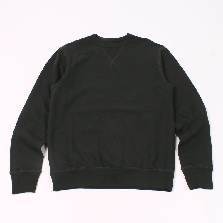 L/S SET IN SLEEVE V GUSSET CREW NECK SWEAT SHIRT -  12oz LIGHT Weight  French Terry - BLACK