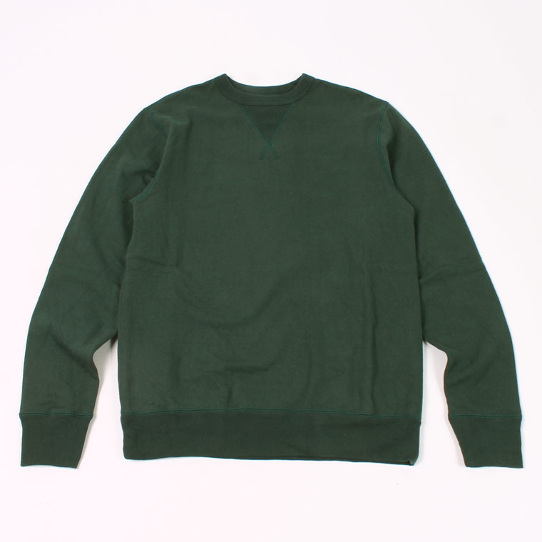 L/S SET IN SLEEVE V GUSSET CREW NECK SWEAT SHIRT -  12oz LIGHT Weight  French Terry - DK GREEN