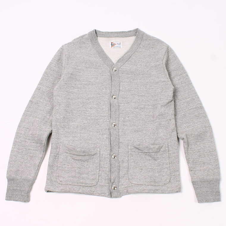 HIGH V NECK SNAP FRONT CARDIGAN - 12oz Light Weight French Terry - GREY HEATHER