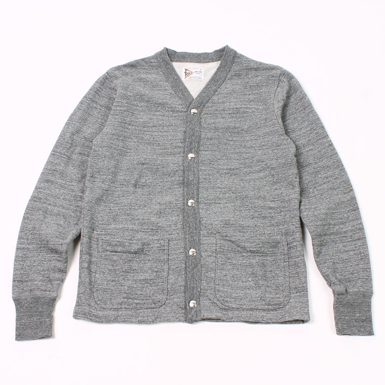 HIGH V NECK SNAP FRONT CARDIGAN - 12oz Light Weight French Terry - CHARCOAL HEATHER