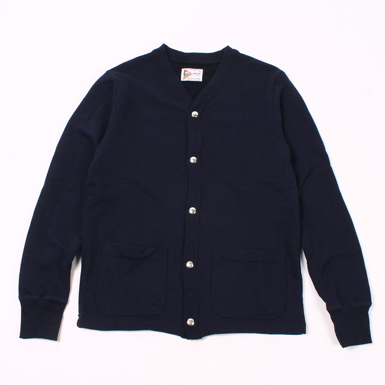 HIGH V NECK SNAP FRONT CARDIGAN - 12oz Light Weight French Terry - ITALIAN NAVY