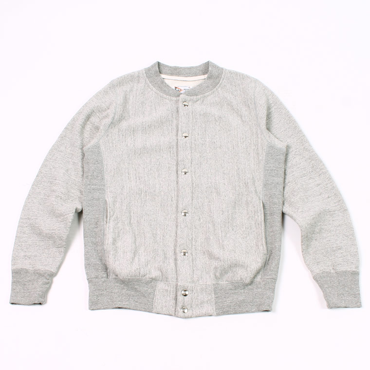 BASEBALL NECK SNAP BUTTON JACKET INVERSE WEAVE 16oz HEAVY WEIGHT TERRY - GREY HEATHER