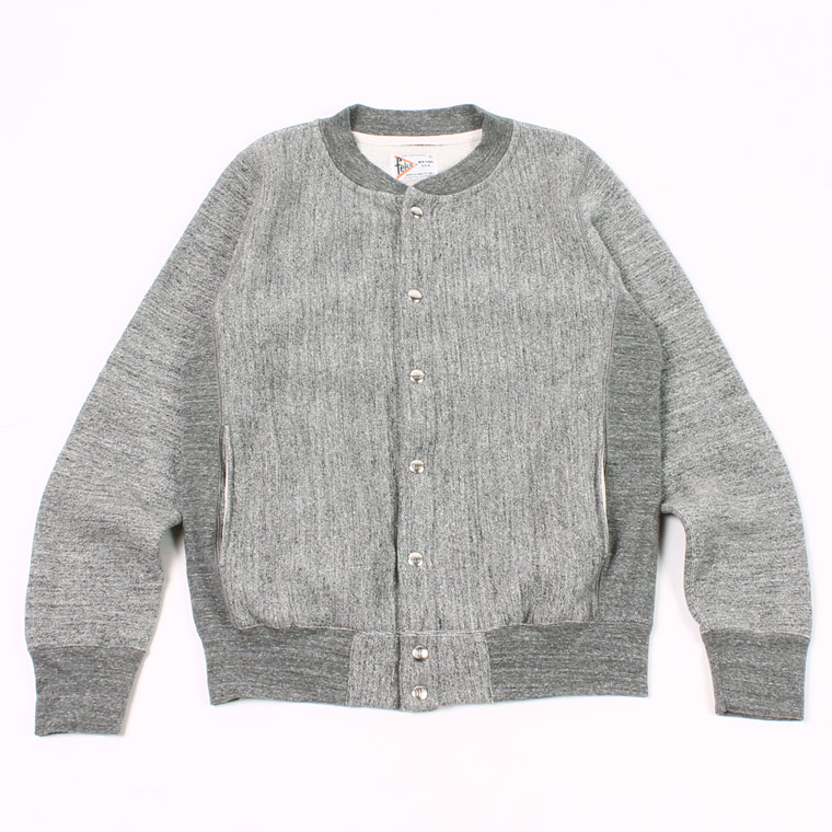 BASEBALL NECK SNAP BUTTON JACKET INVERSE WEAVE 16oz HEAVY WEIGHT TERRY - CHARCOAL HEATHER