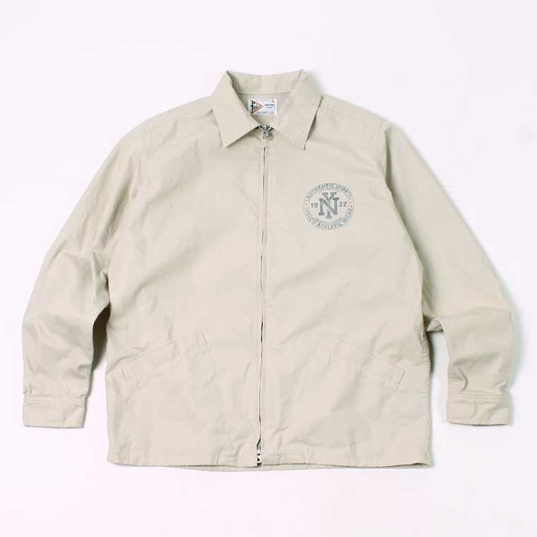 COTTON SPORTS PRINTED JACKET VENTILE GEAR HIGH DENSITY OX WATER REPELLENT - NATURAL_NY CIRCLE RUBBER PRINT