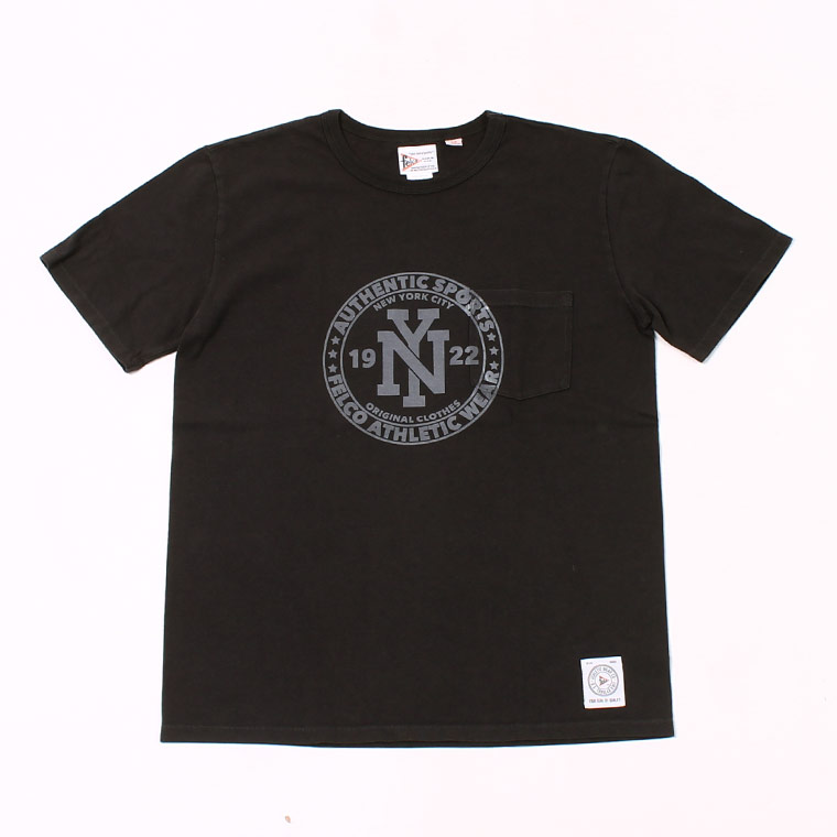 S/S CREW NECK POCKET T MADE IN USA BODY W/ PRINT NY CIRCLE FRONT - BLACK