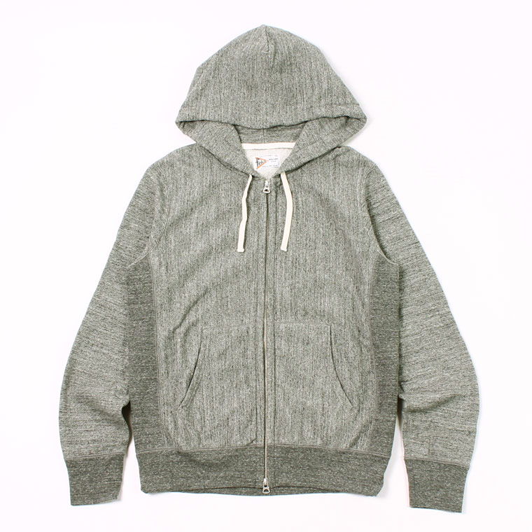INVERSE WEAVE FULL ZIP PARKA w KANGAROO POCKET 12oz LT WEIGHT FRENCH TERRY - HEATHER CHARCOAL