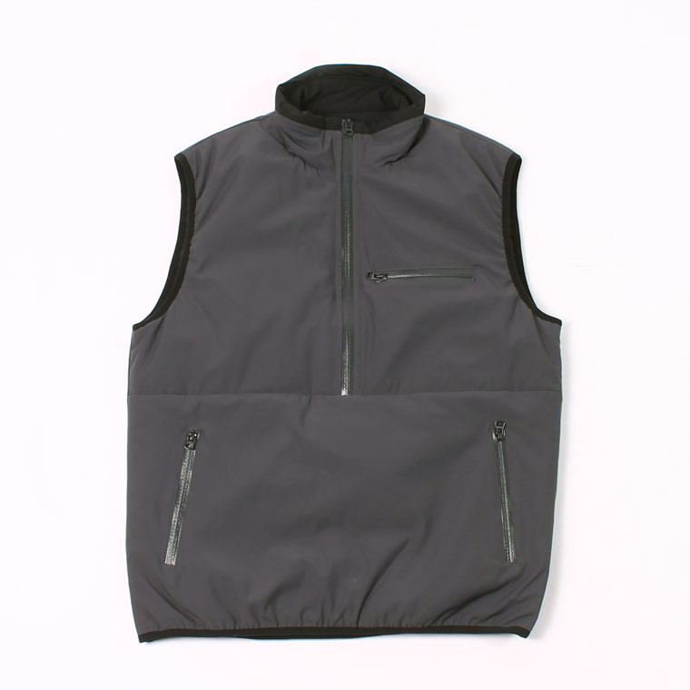 PUFFBALL HALF ZIPPER PULLOVER VEST - WATER REPELLENCY STRETCH NYLON - CHARCOAL