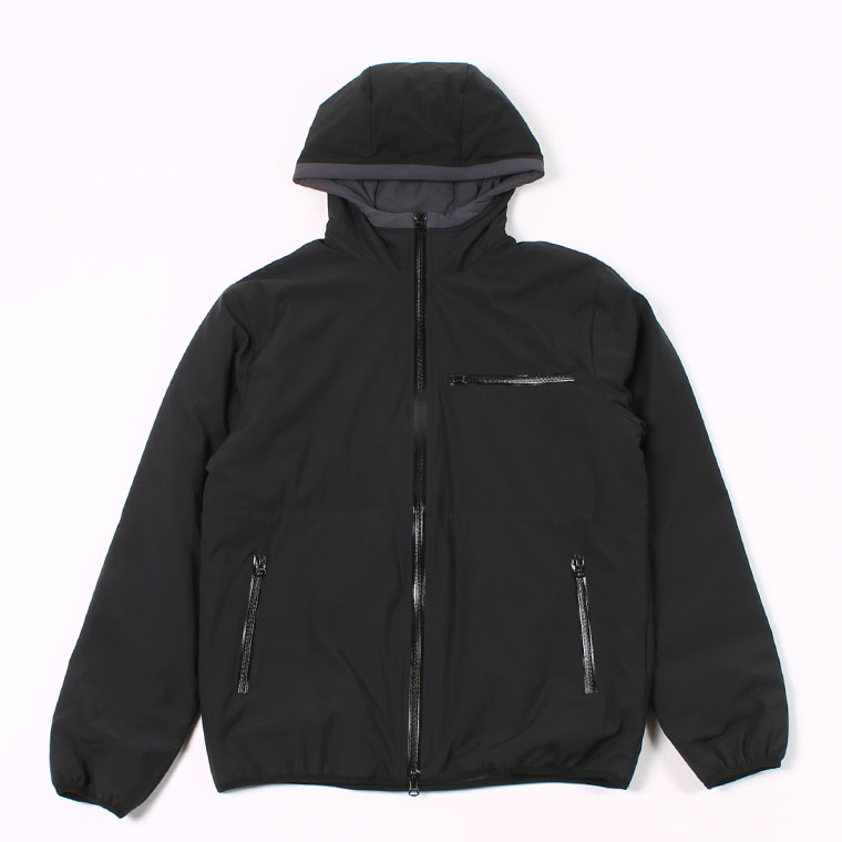 PUFFBALL ZIP FRONT HOODED JACKET -  WATER REPELLENCY STRETCH NYLON - BLACK