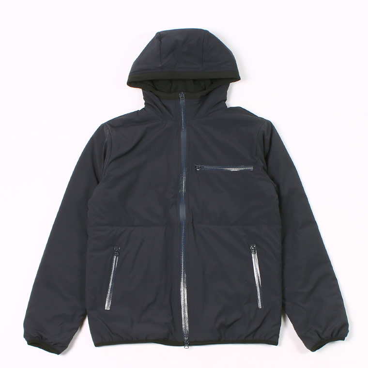 PUFFBALL ZIP FRONT HOODED JACKET -  WATER REPELLENCY STRETCH NYLON - NAVY
