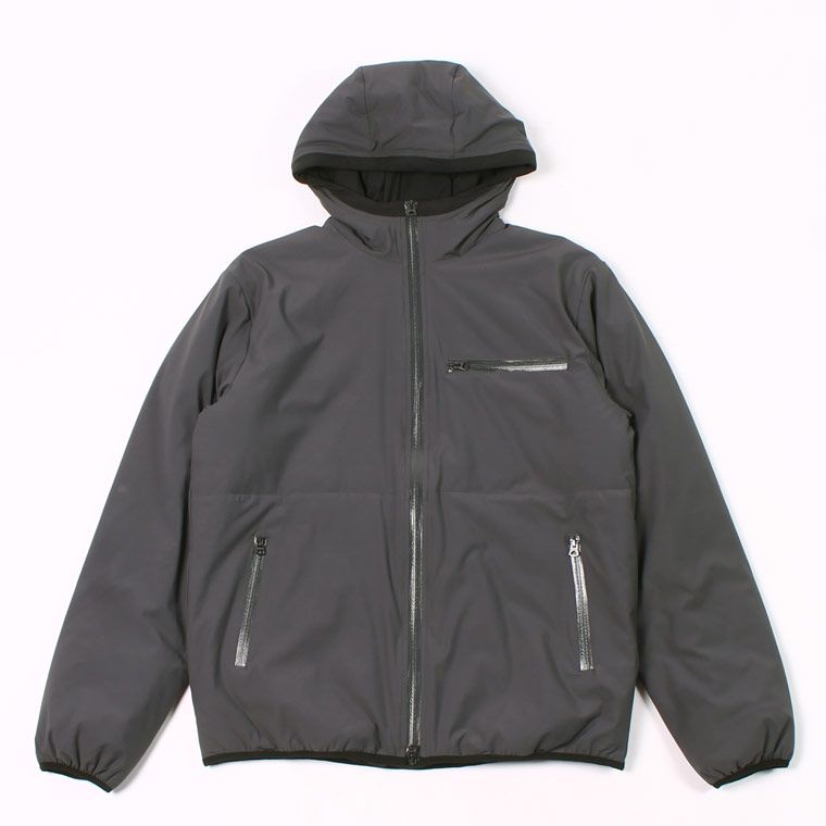 PUFFBALL ZIP FRONT HOODED JACKET -  WATER REPELLENCY STRETCH NYLON - CHARCOAL
