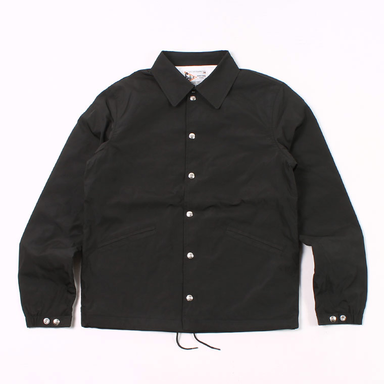 COACH JACKET - SNAP FRONT WATER PROOF NYLON - BLACK