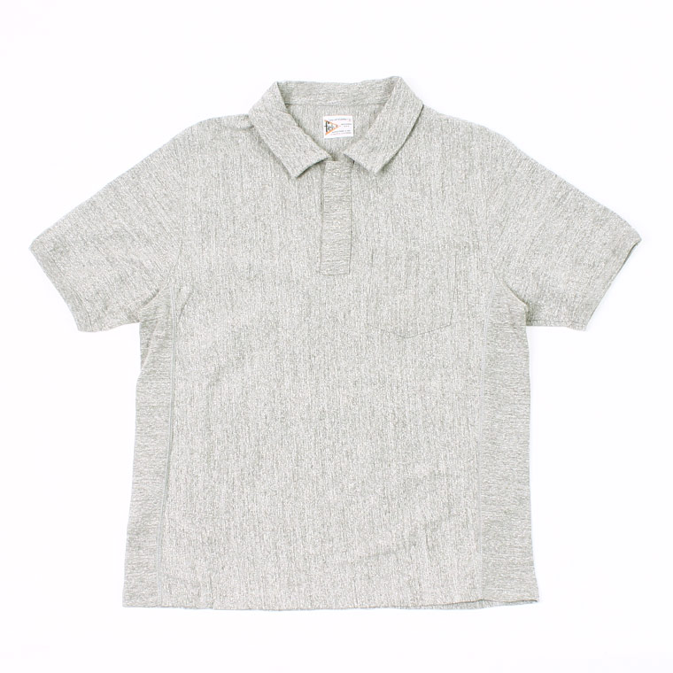 S/S INVERSE WEAVE SET IN SLEEVE POLO 7oz 18SINGLE JERSEY - HEATHER GREY