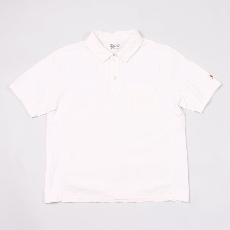 S/S INVERSE WEAVE SET IN SLEEVE POLO 7oz 18SINGLE JERSEY - WHITE