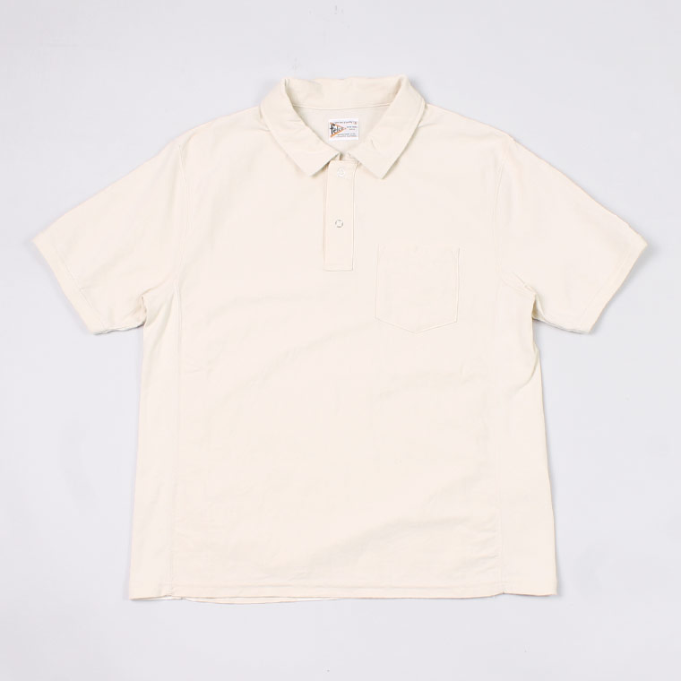 S/S INVERSE WEAVE SET IN SLEEVE POLO 7oz 18SINGLE JERSEY - NATURAL