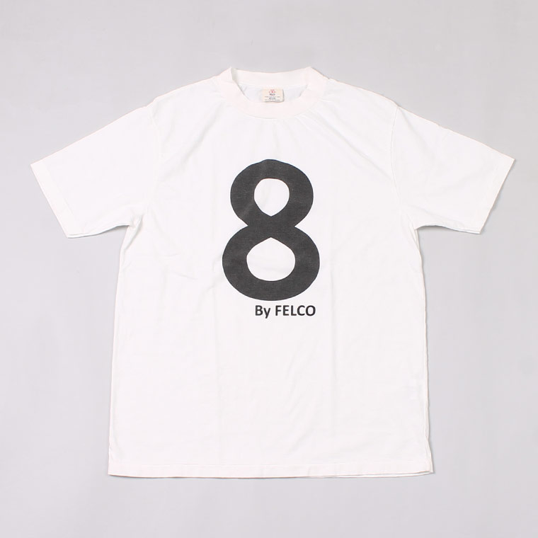 S/S HI CREW T-SHIRT 30s USA COTTON w/PRINT NO.8 - WHITE_BLACK