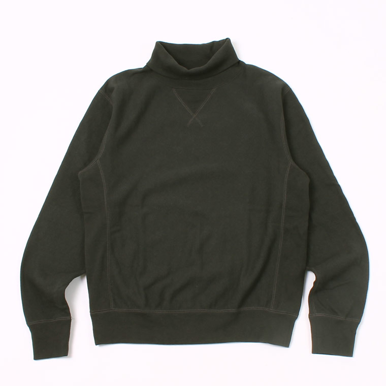 12oz FRENCH TERRY L/S INVERSE WEAVE  V GUSSET TURTLE NECK - BLACK