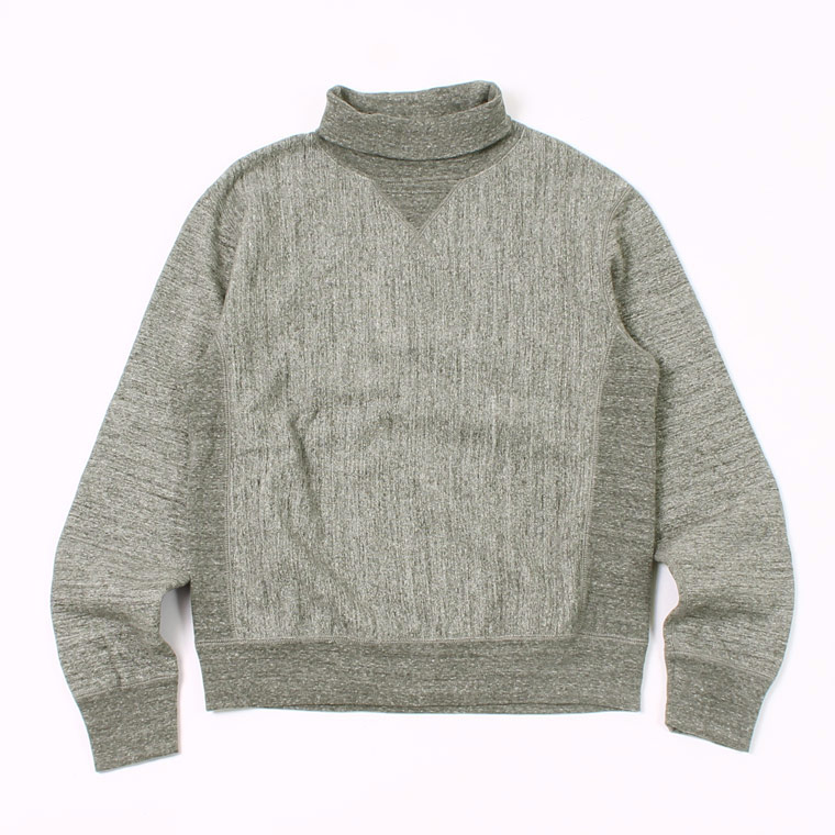 12oz FRENCH TERRY L/S INVERSE WEAVE  V GUSSET TURTLE NECK - CHARCOAL HEATHER