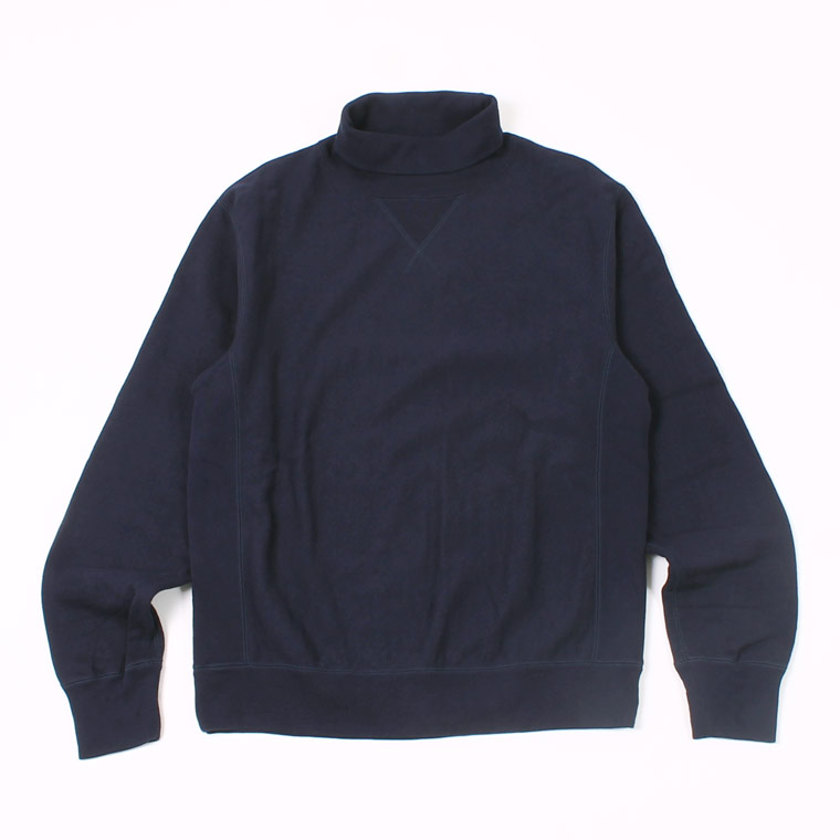 12oz FRENCH TERRY L/S INVERSE WEAVE  V GUSSET TURTLE NECK - ITALIAN NAVY