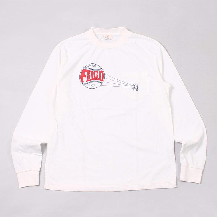 L/S HI CREW POCKET TEE W.FELCO PARK PRINT - WHITE WATERBASED