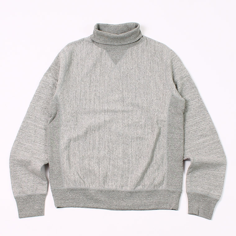 12oz FRENCH TERRY L/S INVERSE WEAVE V GUSSET TURTLE NECK - GREY HEATHER